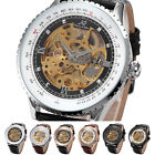KS Luxury Royal Carving Automatic Mechanical Leather Men Skeleton Wrist Watch