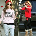 Pullover Sport Set Alphabets Athletic Tracksuit Women Ribbed Sweat Suit Outfits