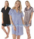 Ladies Womens Nightshirt Nightdress Nightie Satin Short Sleeve Slip Pyjamas