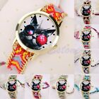 Women Animal Cat Sunglasses Pattern Braided Dial Knit Handmade Chain Wrist Watch