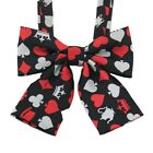 Student School Uniform Collar Flower Playing Card Print Bow Tie Bowknot Cosplay