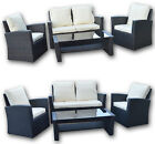 Woodside Virginia Rattan 4 Seat Garden Patio Furniture Dining Table Chair Set