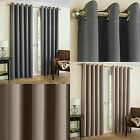 THERMAL BLOCKOUT EYELET CURTAINS HERRINGBONE PRINT RINGTOP CHARCOAL GREY NATURAL