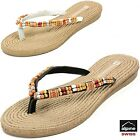 Women's Comfort Sandals Bohemian Thongs Wood Bead Flip Flops Padded Flats Shoes