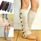 Womens Crochet Knit Wool Lace Legging Socks Leg Warmer Button Style
