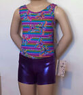 Colorful Butterfly Leotard w/ Purple Shorts & Scrunchie - Girls Sizes 2 to 12