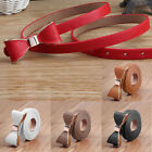 Candy Color Women Belts Wild Bow Decoration Leather Belts Skinny Waistband Strap
