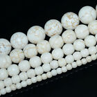 2,4,6,8,10,12,14mm Natural White Turquoise Gemstone Round Beads 15.5""