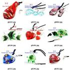 g814q25 Women's Pretty Bead Lampwork Glass Murano Pendant Necklace Earrings set