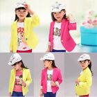 Girls Kids Slim Fit Jackets Suits Pure Color Blazers Casual Cotton Clothes 2-7Y