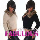 NEW SEXY WOMEN'S SHORT JUMPER JACKET SWEATER FAUX FUR KNITTED TOP Size 8 10 S M