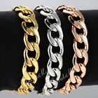 11MM Womens Mens Chain Curb Link Rose/Yellow/White Gold Filled GF Bracelet GIFT