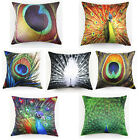 Vintage 45x45cm Peacock Feather Flocking Pillow Case Home Decor Cushion Cover
