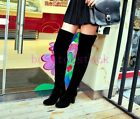 New Fashion Womens Elegant Faux Suede Zip Pumps High Heels Over The Knee Shoes