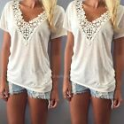 Women Summer Vest Top Short Sleeve Lace Blouse Casual Tank Tops T-Shirt