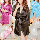 Women Soft Satin Lace Robe Lingerie Nightdress Pajamas Sleepwear G-string