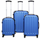 GLOBALWAY 3 Pcs Luggage Travel Set Bag ABS+PC Trolley Suitcase Blue