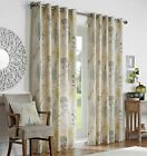 Curtina® LINED EYELET CURTAINS GARDENIA GREEN RING TOP MACHINE WASHABLE