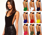 Womens Plus Size Backless Stretch Bodysuit Ladies Scoop Basic Leotard Top 8-22
