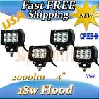 4x 18W 4INCH CREE LED WORK LIGHT Bars flood OFFROAD Motorcycle JEEP Driving lamp