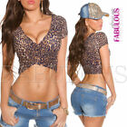 Sexy Women's Leo Print Crop Top Sz 10 6 8 Party Casual Wrap Shirt V- Neck XS S M