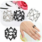 Fashion Women Men Pentagram Pentacle Ring Decor Gift For Lovers Black Silver