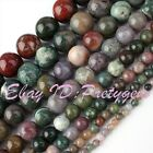 4.6.8.10.12.14mm Round Multicolor Indian Agate Gemstone Spacer Beads Strand 15""