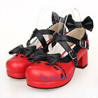 #9829Red Sweet Gothic Punk KERA LOLITA shoes DOLLY Punk platform shoes 4cm heel