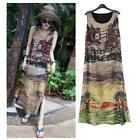 Summer Women Beach Retro Sleeveless Silk Chiffon Beach Sundress Long Maxi Dress