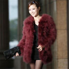 New winter Farm Ostrich Feather Fur Domestic Turkey fur coat Jacket long sleeve