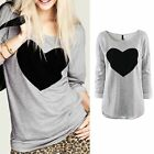 New Womens Love Heart Long Sleeve Casual Loose Tee Shirt Tops Blouse RD