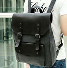 2015 Fashion Mens Leather Canvas Backpack Hiking Camping Rucksacks Travel Bags