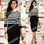 Fashion Women Elegant 3/4 Sleeve Striped Slim Round Neck Pencil Dress