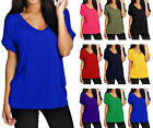 Womens Baggy Fit V Neck Top Ladies Turn  Up Loose Batwing Short Sleeve Size 8-20