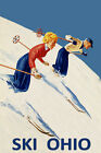 Couple Ski Skiing Race Ohio American Winter Sport Vintage Poster Repro FREE S/H