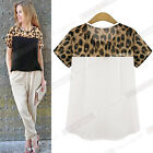 Cute Women Korean Loose Chiffon Leopard Crew neck Short Sleeve Shirt Tops Blouse