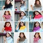 Women Lady Winter Warm Infinity 2 Circle Cable Knit Cowl Neck Tassel Scarf Shawl