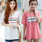 New Womens Casual Crew Neck Stretch Short Sleeve Letters Print T Shirt Top YG