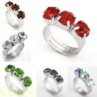 1PC Crystal Three Stones Past Present Future Adjustable Trinity Finger Ring Gift