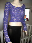 New Sheer Purple Floral  lace Extra long sleeve Party Gift crop top all sizes
