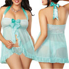 Sexy Women's Soft Lingerie Dress Underwear Nightwear Babydoll Sleepwear+G-string