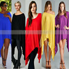 Sexy Women Casual Asymmetric Cloak Tops Party Evening Dress Clubwear Plus Size