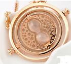New Design Alloy Rotating Time Turner Pendant Necklace Gold Hourglass