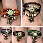 New Women Butterfly Bracelet  Vintage Fashion  Leather Quartz Wrist Watch