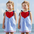 NEW Kids Girls Blue Princess Striped Tutu Dress Party Casual Cotton Skirt 1-6Y