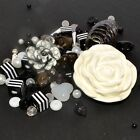 Mixed Bead - Bead Soup - Black & White - Glass, Lucite, Acrylic, Polymer