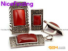 Red Agate Jewerly Earrings Ring Pendant Set Antiqued Tibetan Silver Marcasite