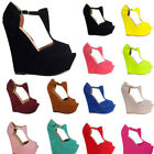 Womens Ladies High Heels Platform Open Toe Wedges Exclusive Shoes US Size 4-11