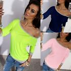 Sexy Womens Off Shoulder Long Sleeve Loose Casual Cotton Tee Shirt Blouse Tops