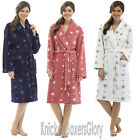 Ladies Super Soft Fleece Star Print Dressing Gown/Bath Robe NEW Size S, M, L